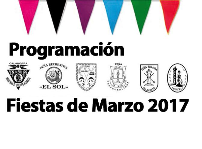 Programación de las Peñas de Calahorra para las Fiestas de Marzo 2017
