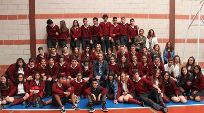 Titín III y Vicente Elías visitan el colegio Agustinos de Calahorra