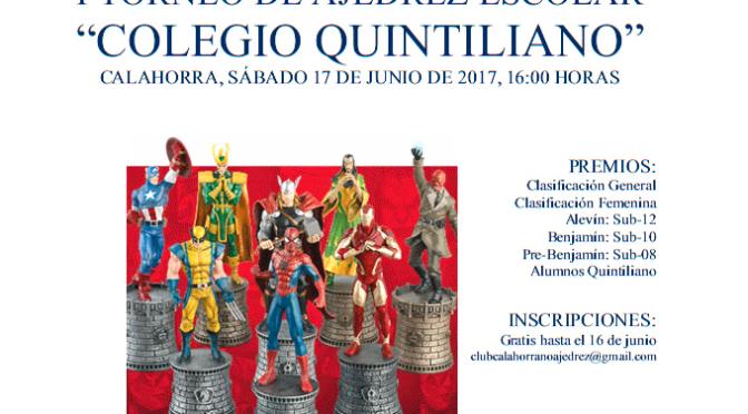 """I Torneo  de ajedrez escolar """"Colegio Quintiliano"""""""