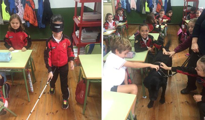 Los alumnos de Agustinos  ciegos por un día