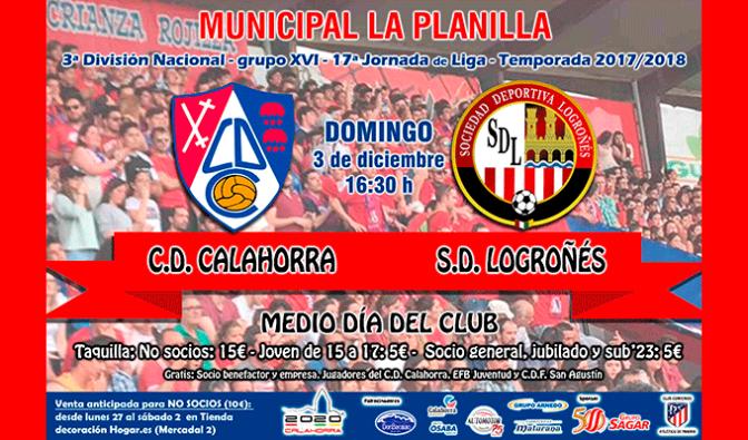 El CD Calahorra disputa el domingo la jornada 17 contra la SD Logroñes