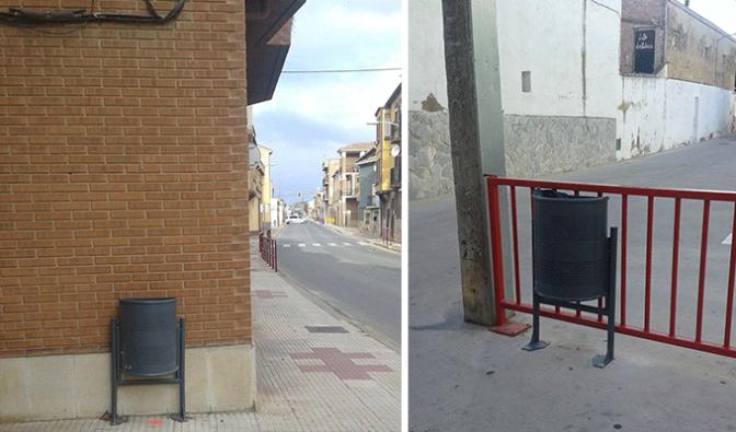 El Ayuntamiento de Pradejón reparte unas 50 papeleras por las calles del municipio