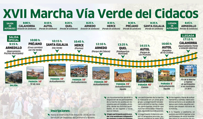 Más de 750 personas participarán mañana en la XVII Marcha Vía Verde del Cidacos: