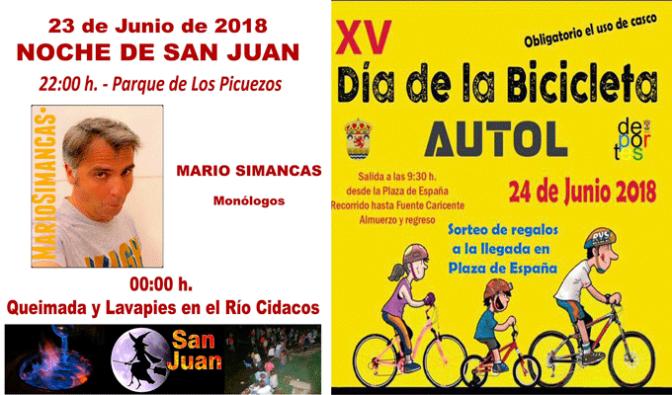 Autol, celebra la noche de San Juan y el Dia de la bicicleta este fin de semana