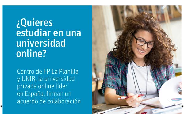 El Centro de FP LA Planilla firma un convenio de colaboración con la UNIR