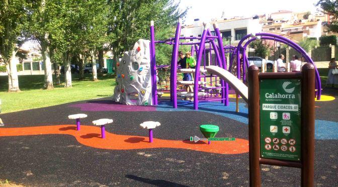 Nuevos juegos infantiles en la plaza Hauza y el parque del Cidacos