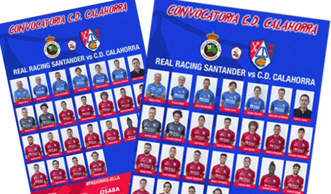 Convocatoria del CD Calahorra para el partido de mañana frente al Real Racing Santander