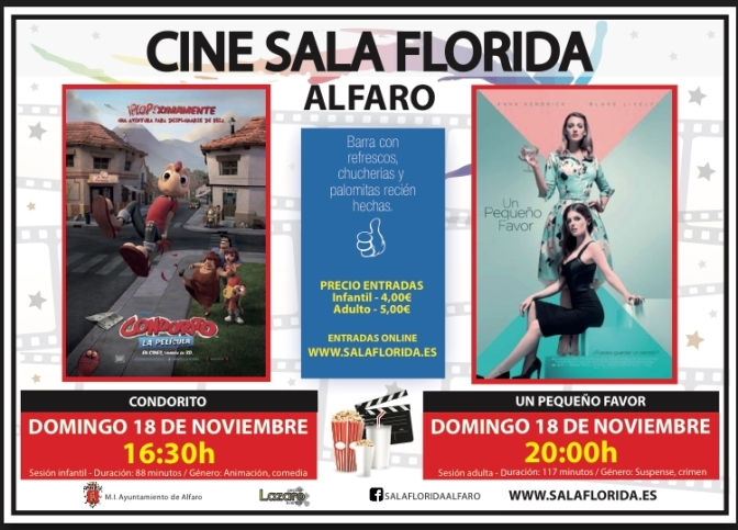 """""""Condorito"""" y """"Un pequeño favor"""" este fin de semana en Alfaro"""