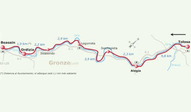 De Tolosa a Beasáin, 3ª etapa del camino vasco del interior para el 18 de Noviembre