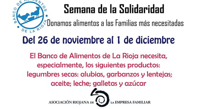 La AREF celebra la Semana de la Solidaridad para el Banco de Alimentos de La Rioja