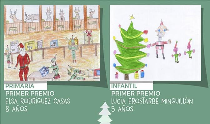 Lucía Erostarbe y Elsa Rodríguez ganadoras del ConcursodeTarjetas Navideñas de Rincón de Soto