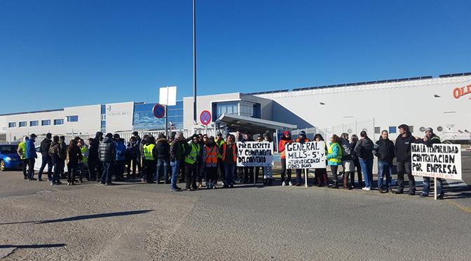 Continuan las protestas de los trabajadores de General Mills en San Adrián