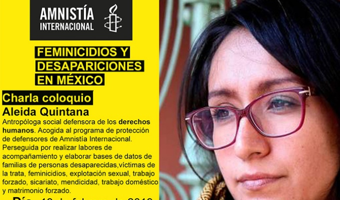 Aleida Quintana, defensora de derechos humanos mexicana, visita La Rioja invitada por Amnistía Internacional