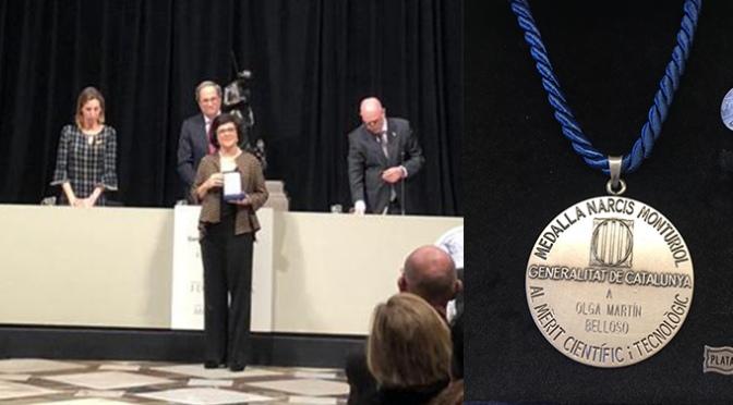 Olga Martín Belloso recibió ayer la  Medalla Narcís Monturiol