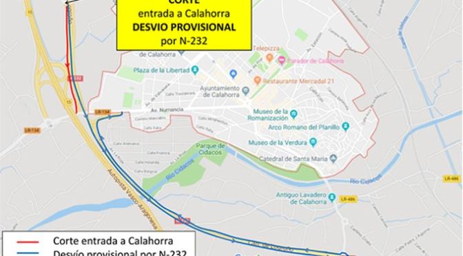 EL lunes comienzan las obras de Conservación y reparación del Paso Superior sobre la N-232 y la AP-68 en Calahorra