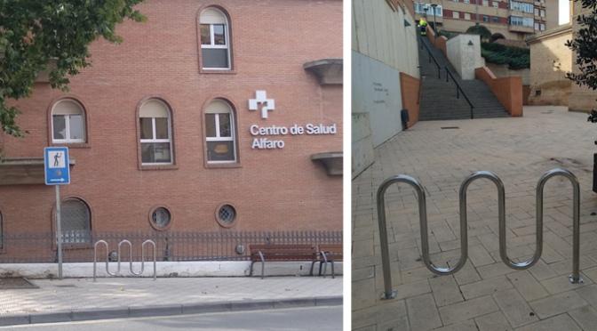 """Alfaro con el fin de promover la movilidad sostenible instala nuevos """"aparca bicis"""""""