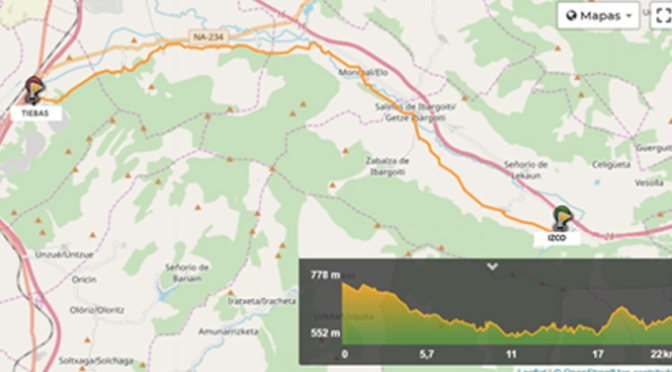 Nueva Etapa del Camino Jacobeo del Ebro desde Izco hasta Tiebas