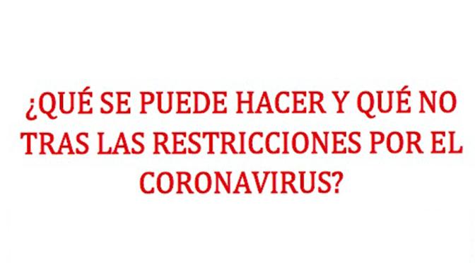 ¿QUÉ SE PUEDE HACER Y QUÉ No, tras las restricciones del CORONAVIRUS?