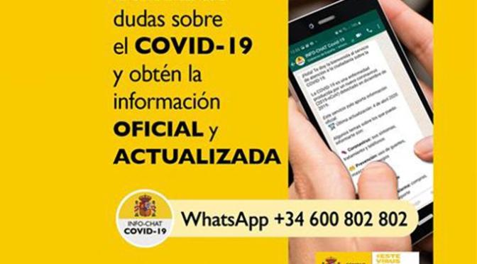 En marcha Hispabot-Covid19, un canal de consulta sobre el COVID-19 a través de WhatsApp