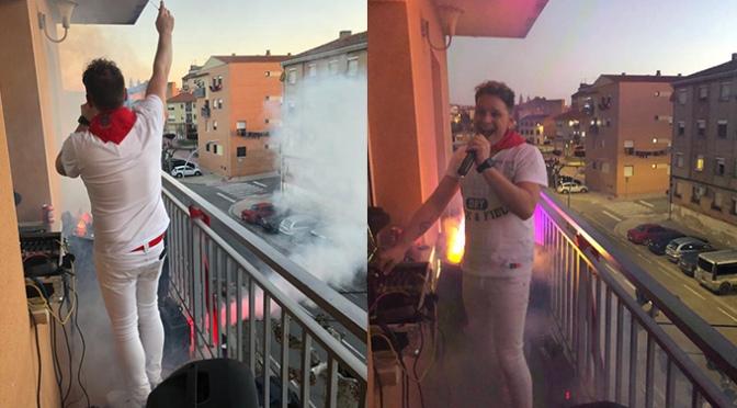 Diariamente Luis Manuel Martínez hace disfrutar desde el balcón a todos los  vecinos de Avda. La Vía de Alfaro