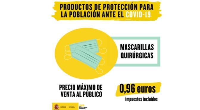 Las mascarillas quirúrgicas tendrán un preció máximo de venta de 0,96 euros