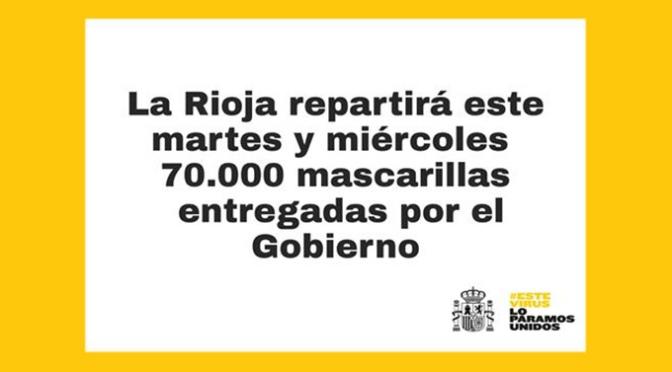 Durante el martes y el miércoles se repartirán 70.000 mascarillas en La Rioja