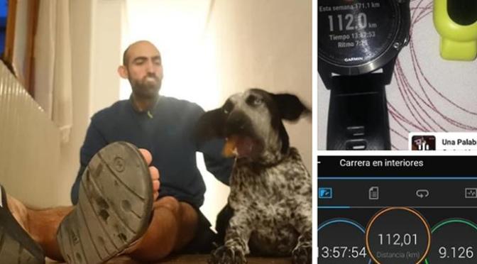 Una distancia de 112 km en un tiempo de 13:57 horas, sin parar y sin salir de casa