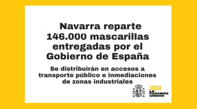 Las 146.000 mascarillas del Gobierno de España se repartirán en accesos a transporte público y en las inmediaciones de zonas industriales