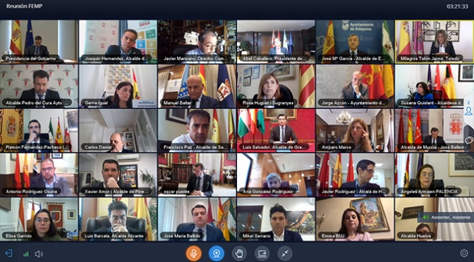 La alcaldesa de Calahorra participa en la videoconferencia de la FEMP con el Presidente del Gobierno