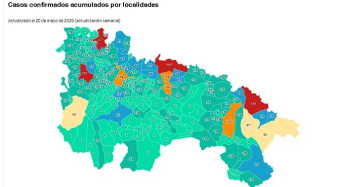 Casos confirmados de coronavirus acumulados por localidades