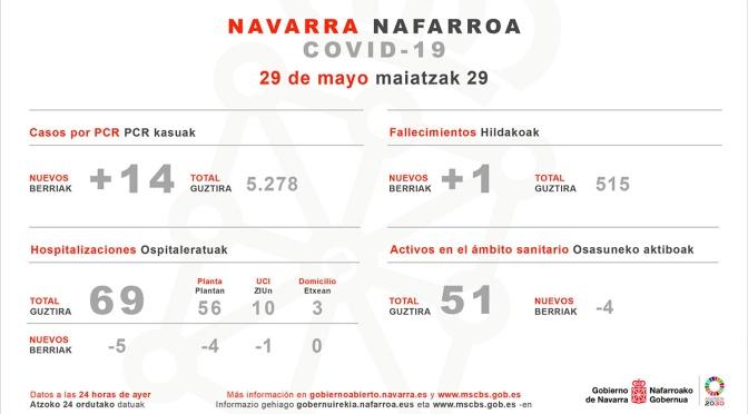 Catorce son los nuevos casos confirmados por pcr según el Gobierno de Navarra