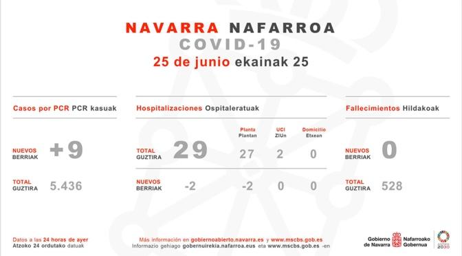 Navarra registra 9 nuevos casos de COVID-19, dos de ellos relacionados con el brote de la zona norte
