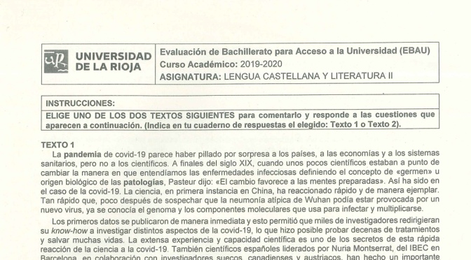 Exámenes de la EBAU 2020 en LA Rioja