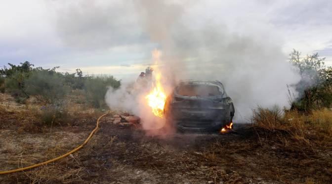 Aparece un cadáver dentro de un vehículo en Azagra en lo que aparentemente era un incendio forestal