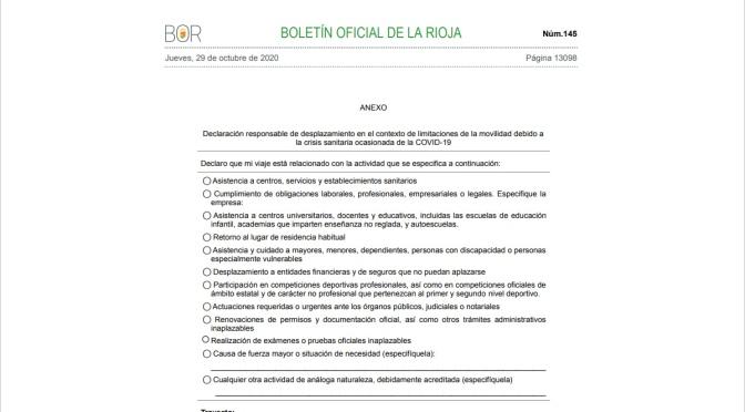Declaración responsable de desplazamiento en La Rioja