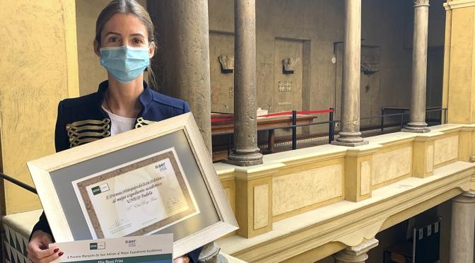 La Alfareña, Elia Royo  recibe el Premio Marqués de San Adrián al Mejor Expediente Académico