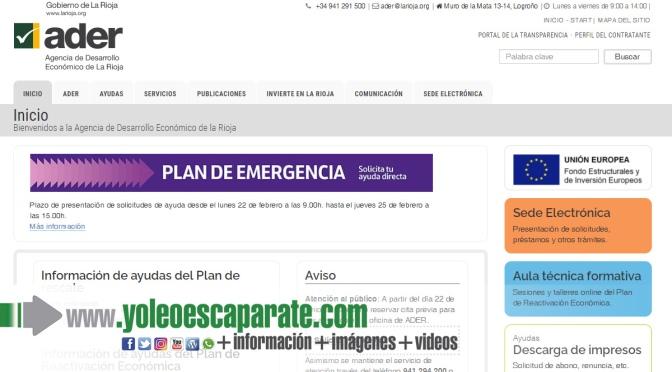 Restablecida la página web de ADER para solicitar las ayudas del Plan de Emergencia