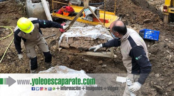 Hoy finalizará la extracción del canal romano encontrado en la calle Eras